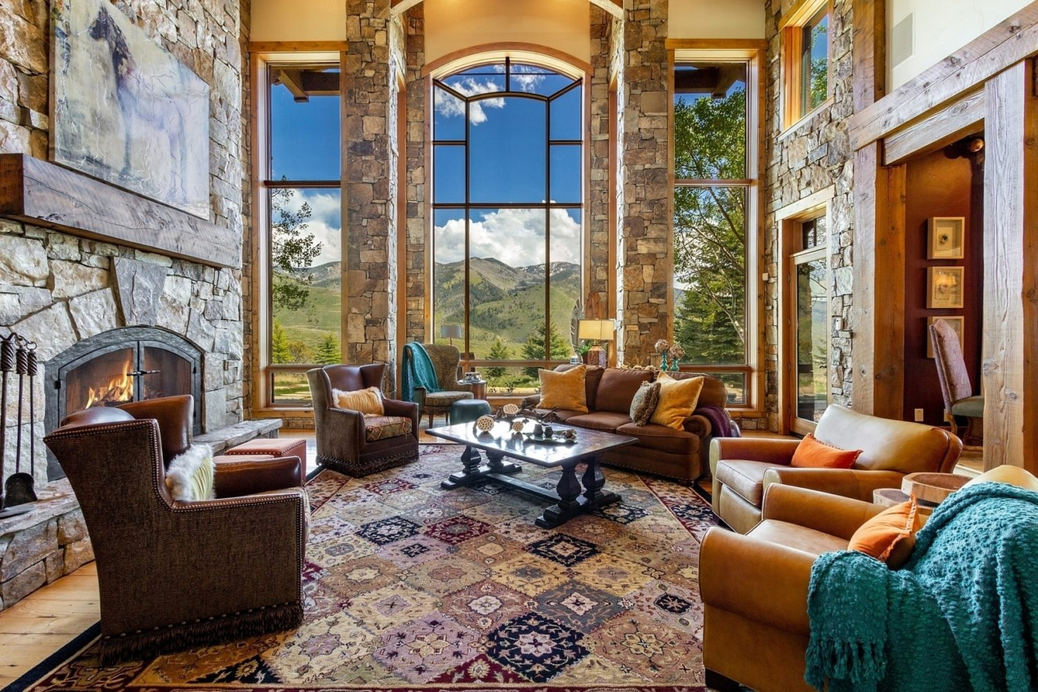 Mountain Home with architectural elements. Furniture placement highlights the focal points